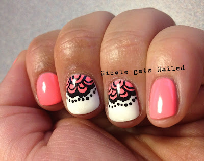 Half Moon Lace White Neon Pink Nail Art Nails