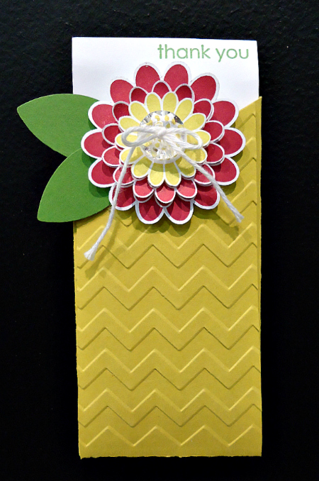 Thank You Pocket Card with Embossed Chevron