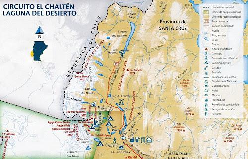 Mapa El Chaltén - Circuito Laguna del Desierto