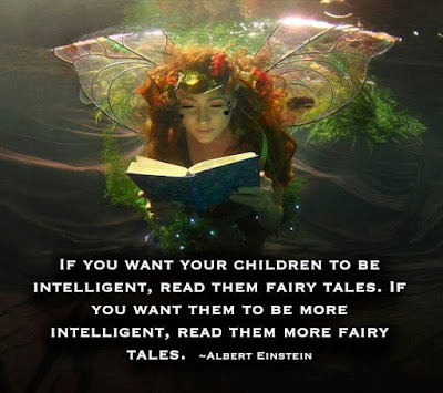 """""""If you want your children to be intelligent, read them fairy tales. If you want them to be more intelligent, read them more fairy tales."""" ~ Albert Einstein; Picture of a child dressed up like a fairy reading a book."""