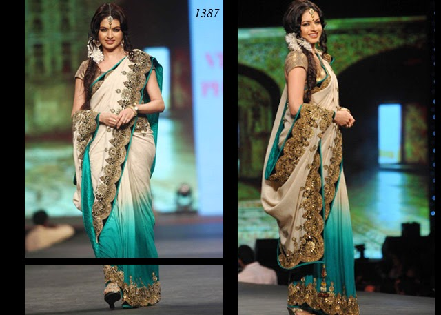 1387 - Bollywood actress Bhagyashree in beautiful green and white designer half and half saree