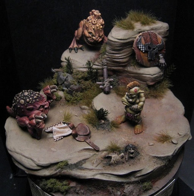 Expertly painted Golden Demon Squig Diorama