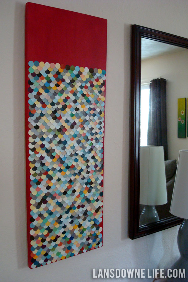 Repurposed scalloped paint chip wall art