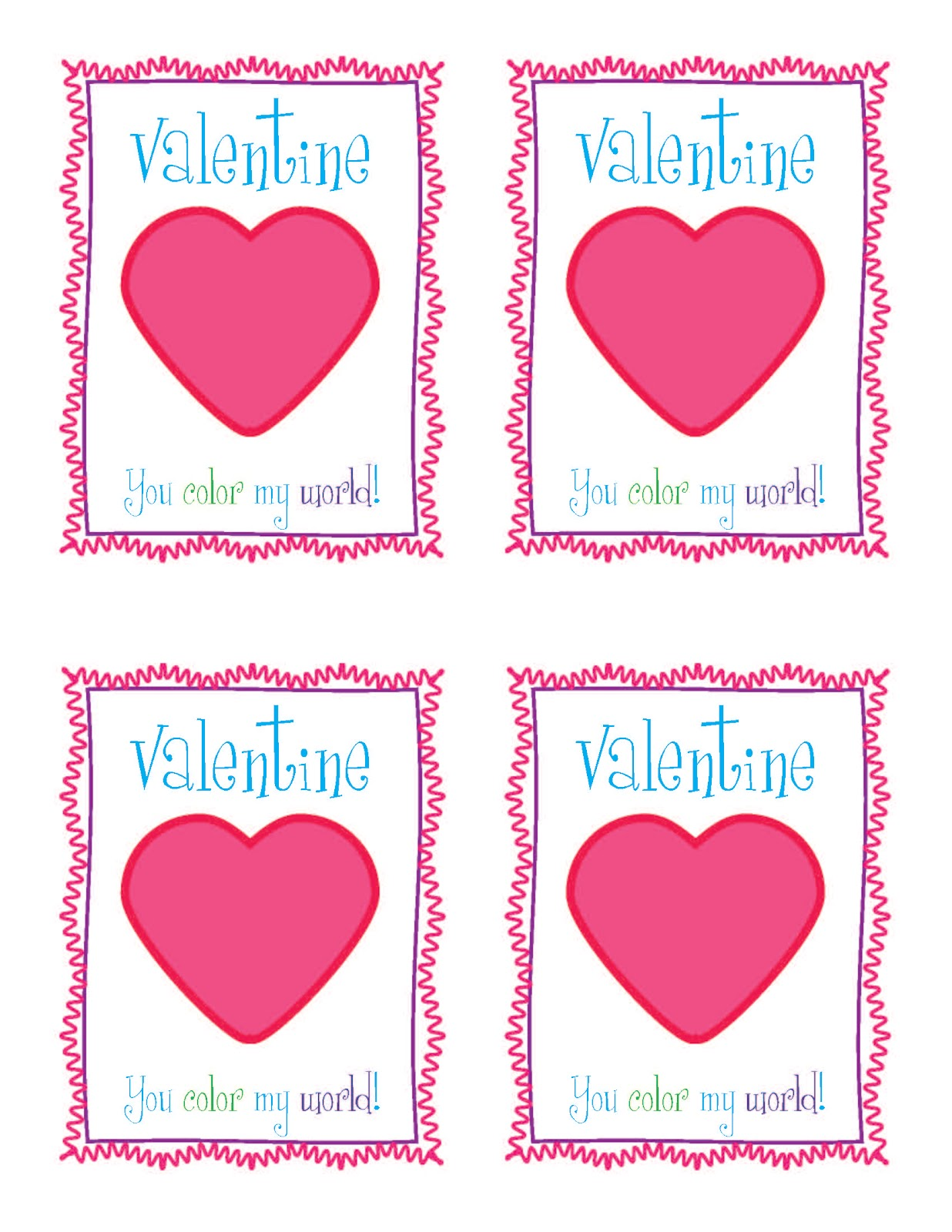 You Color My World Valentines Day Printable By MarleyDesign. Coming Up  Rosemary!Heart Shaped Crayons With Free Valentines