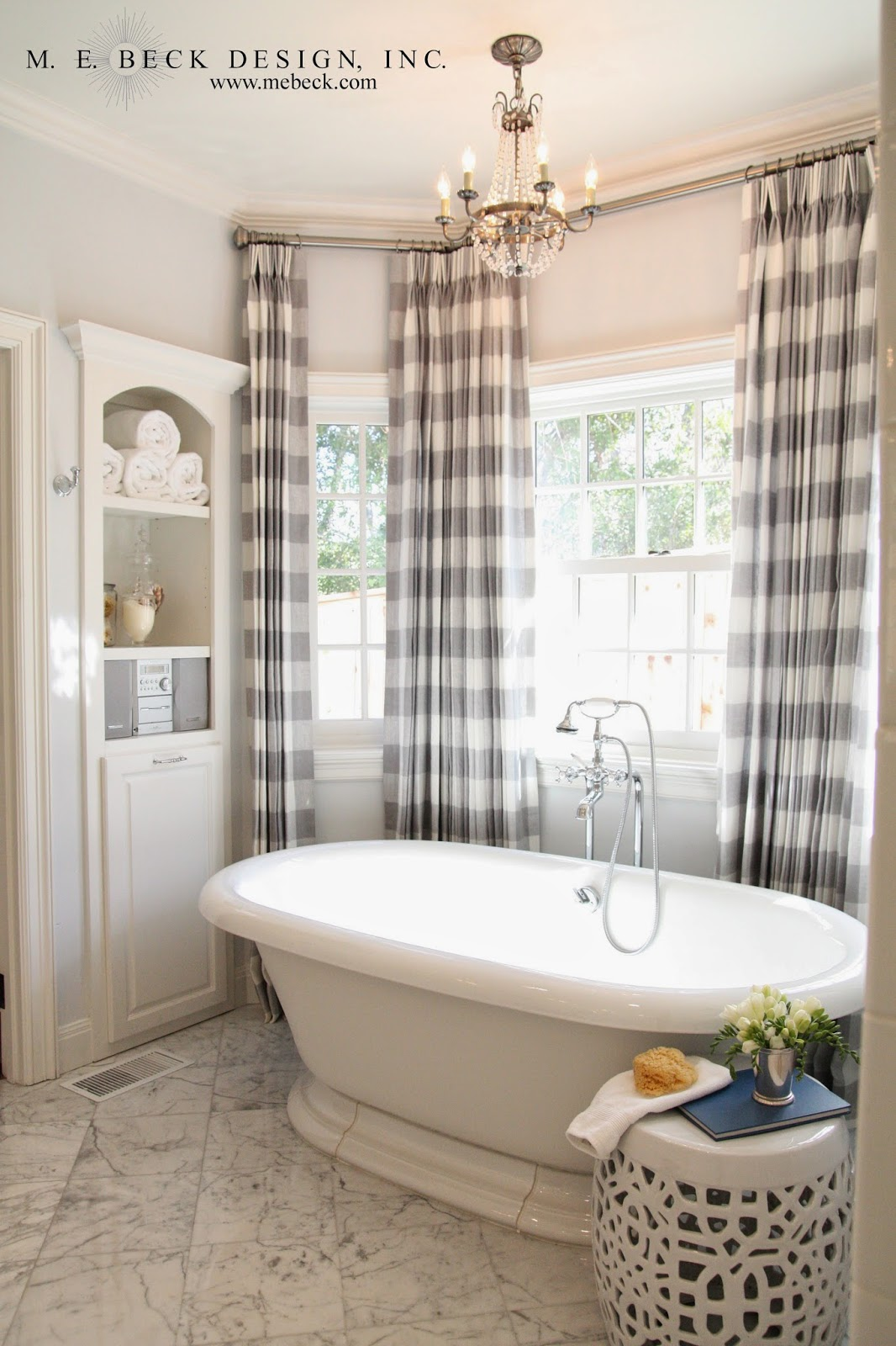 Live beautifully center hall colonial master bath for Master bathroom curtains