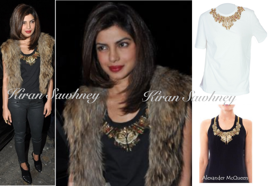 Priyanka Chopra at Sanjay Leela Bhansali Party in Alexander McQueen