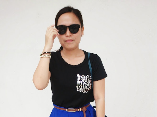 Outfit Diary : Pocketful Sequin t-shirt + Royal Blue Midi skirt