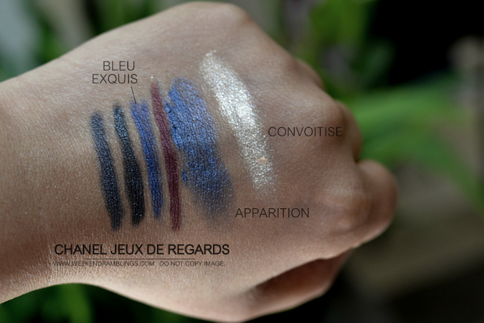 Chanel Jeux de Regards Makeup Collection Cream Eyeshadow Illusion DOmbre Convoitise Apparition Bleu Exquis Eyeliner Black Shimmer Grenat Gris Swatches Indian Beauty Blog