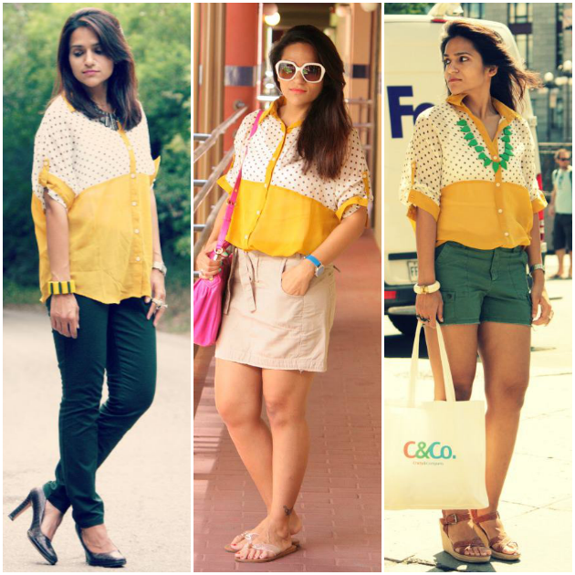 Three Ways To Style Yellow Polka Dot Blouse, Tanvii.com