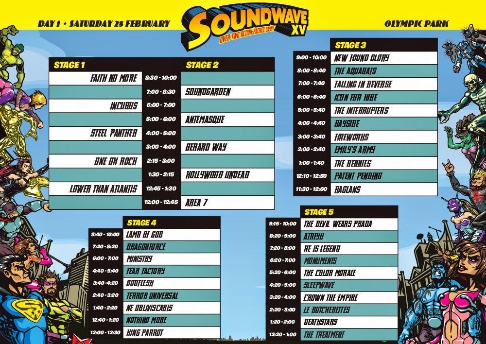SW15 Sydney timetable day 1, soundwave 2015 timetable