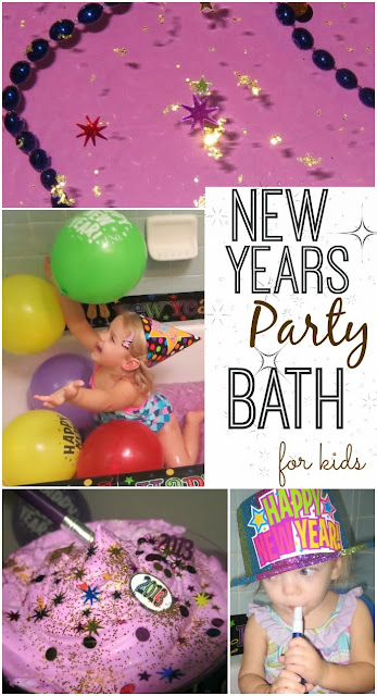 New Years Eve Bath for Kids- how FUN!!! This bath even has a balloon drop. What a fun way for kids to celebrate!