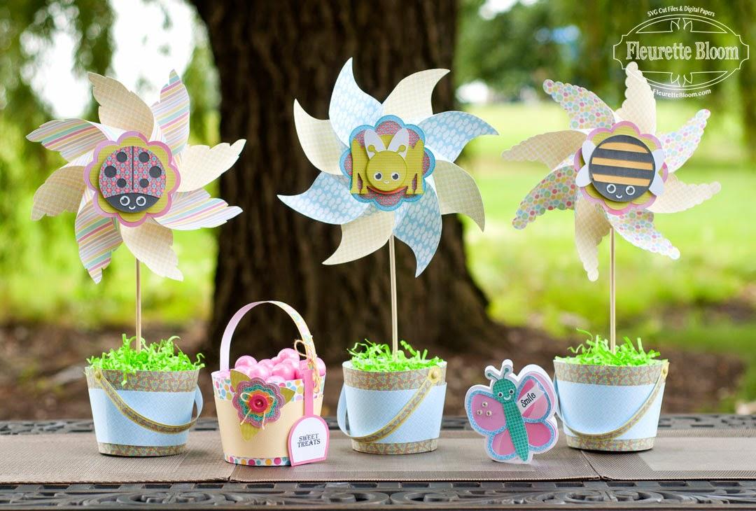 """Fleurette Bloom: New """"Cutie Bug Pinwheels"""" 3D SVG Kit ~ By Fleurette"""