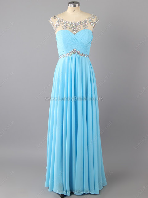 Empire Chiffon Tulle Scoop Neck Floor-length Beading Prom Dresses