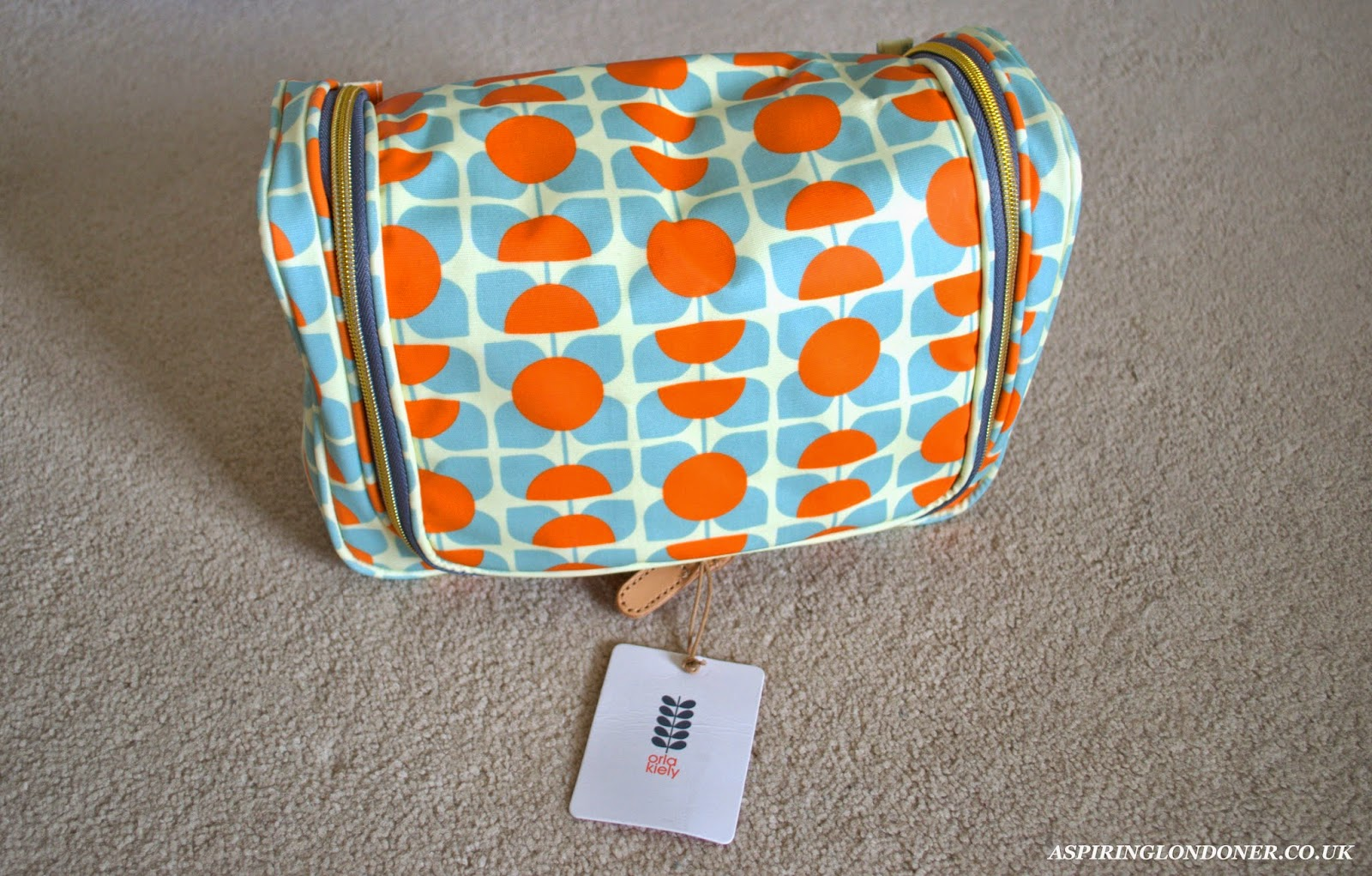 Orla Kiely Square Flower Orange & Blue Large Wash Bag Review - Aspiring Londoner