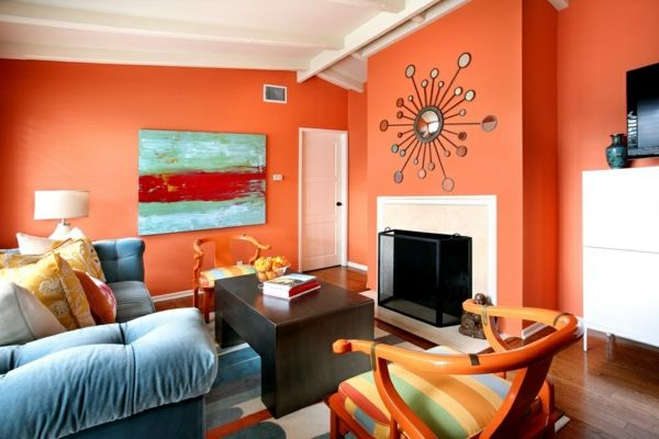 Decoracion Sala Comedor Color Naranja ~ Paredes de sala color naranja con chimenea y techo en color blanco