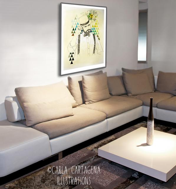 Portrait-néo-rétro-vintage-carla cartagena-illustration-peinture-encre-tableau-décoration-cadre
