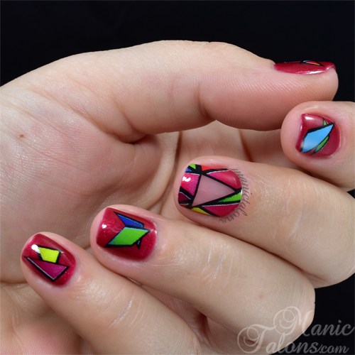 Negative Space Geometrics with Empower Nail Art Stained Glass Film