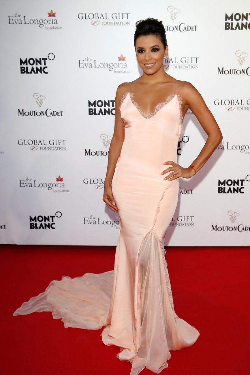 Eva Longoria In A Lingerie Inspired Dress At The 2014