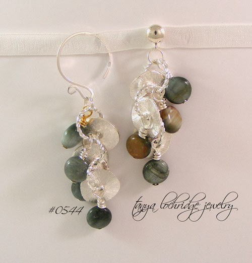 Tanya Lochridge Jewelry Eagle Eye Agate Potato Chip Sterling Earrings