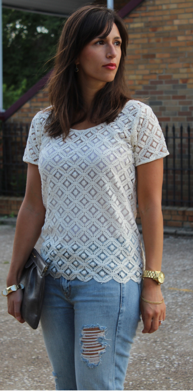 boyfriend jeans and lace top