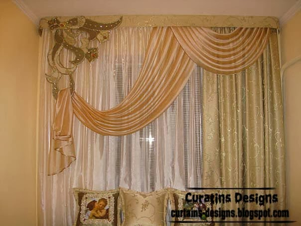 Embossed curtain designs and draperies for bedroom luxury for Unique drapes and curtains