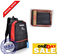 Buy FREE Levis Wallet with Stylish Signature Back Pack at Shopclues