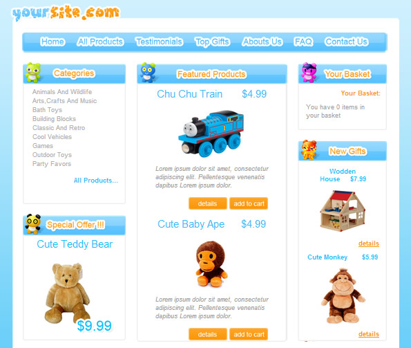 Ecommerce Site Name : Gift Template