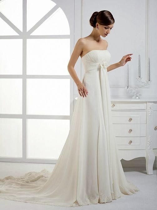 one shoulder chiffon wedding dress
