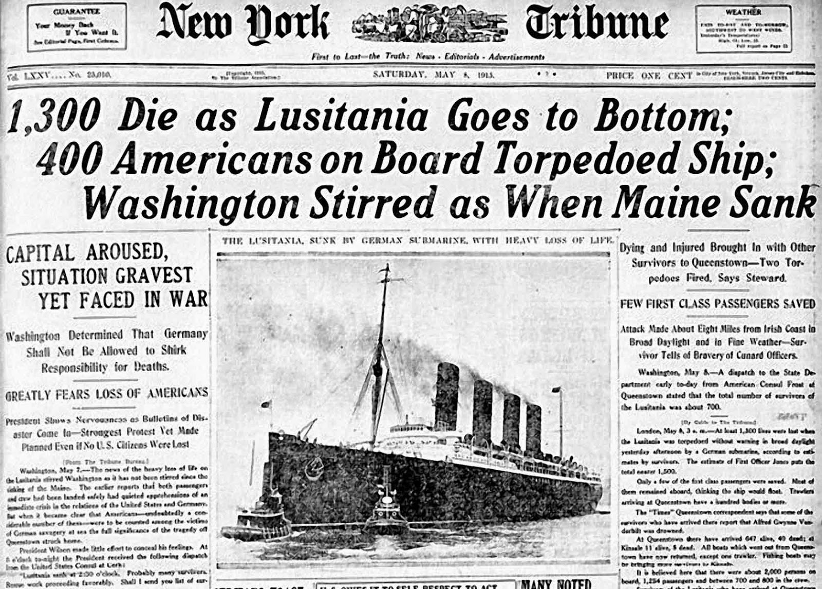 a history of the sinking of the lusitania in germany The collection includes an illustrated history of images from the battlefields and dramatic coverage of casualties from the 1915 sinking of the lusitania by a.