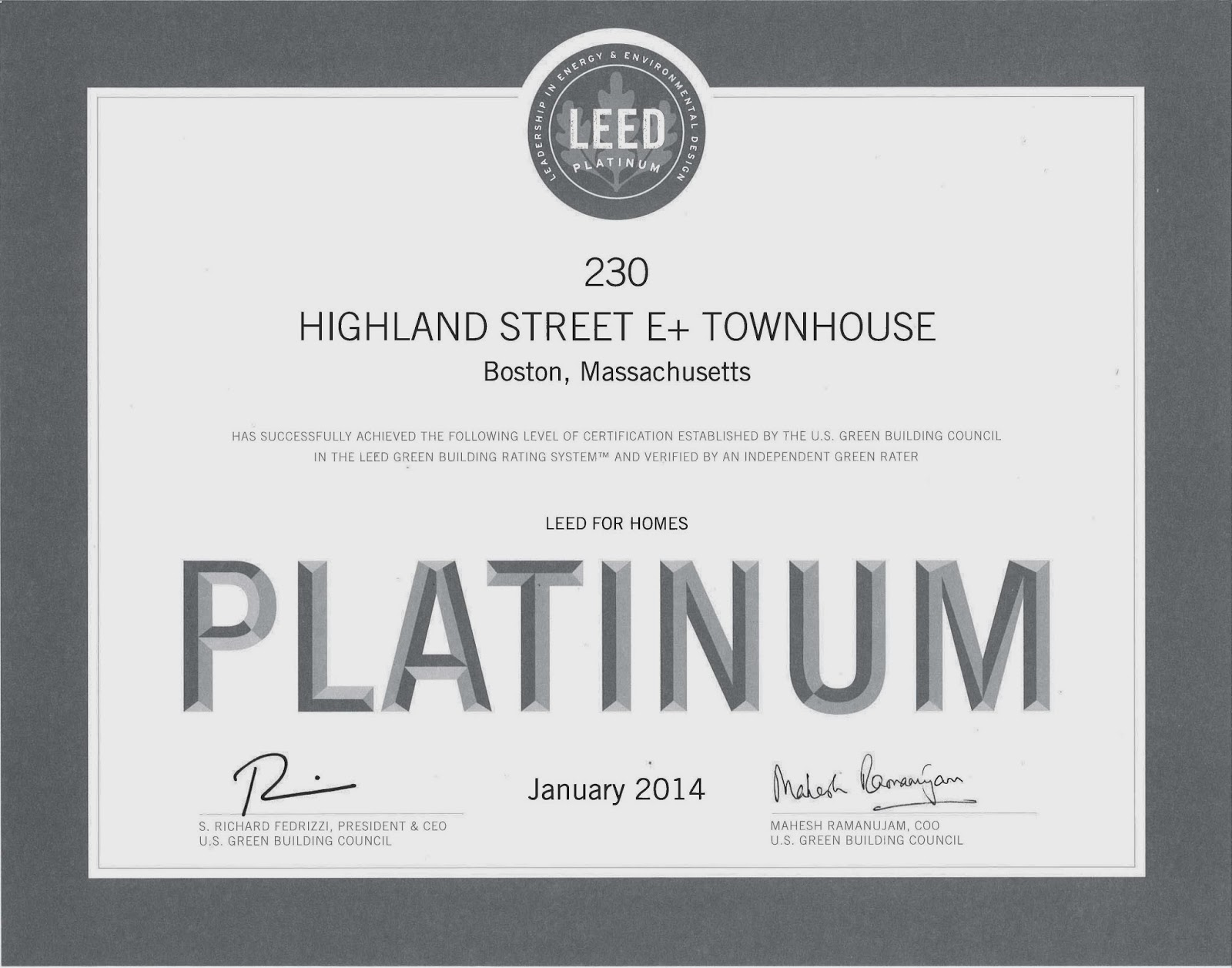 Urbanica blog leed for homes platinum x 4 awesome for Leed for homes rating system