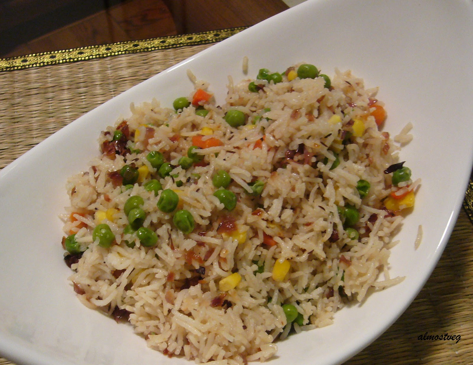 almostveg: Mixed vegetable pilaf with Shahjeera