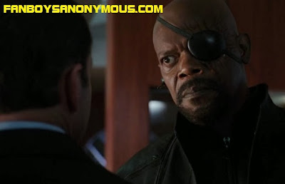 Samuel L Jackson Nick Fury and Clark Gregg Agent Phil Coulson in the Avengers movie