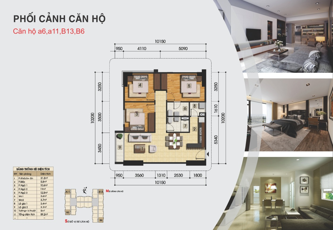 Thiết kế căn hộ a6, a11, b13, b6