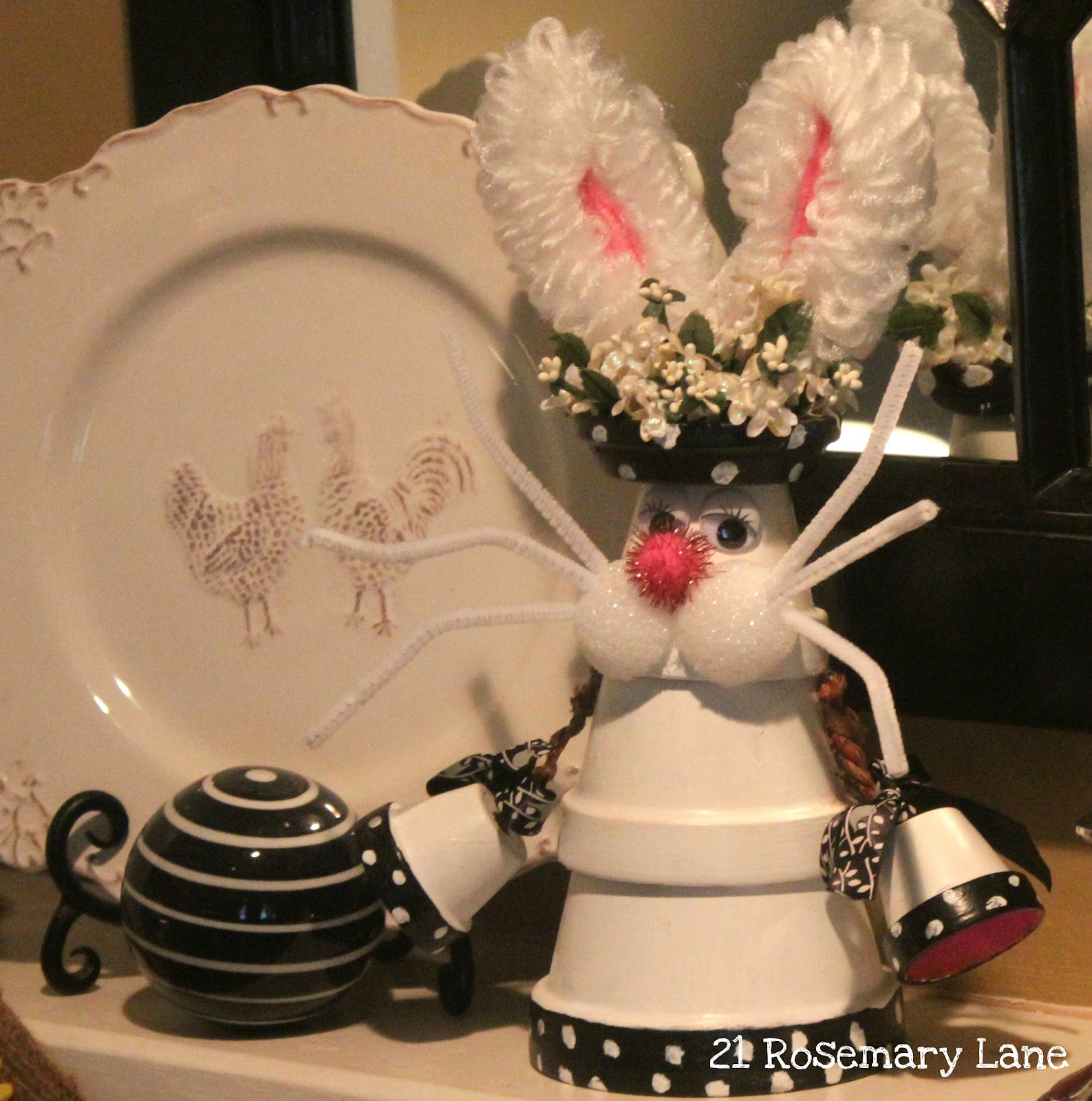 Home Craft Ideas Easter Bunny Flower Pot Craft Flower Pot: 21 Rosemary Lane: Spring