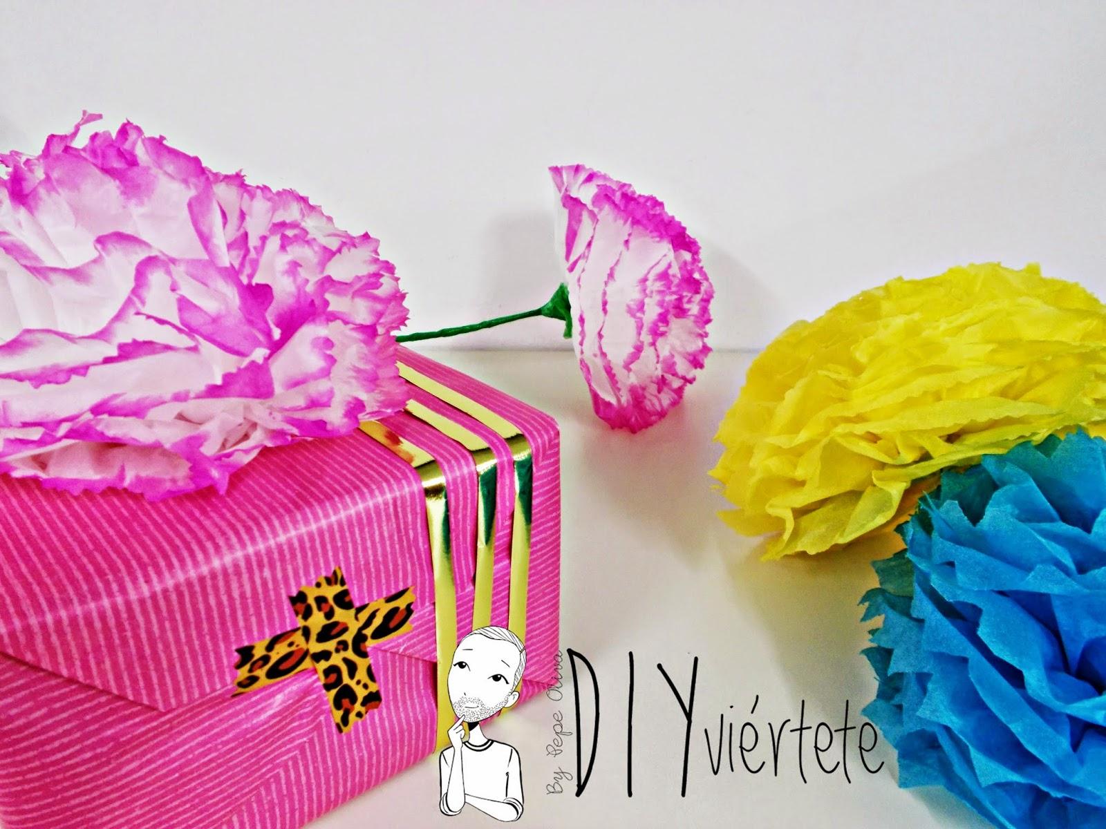DIY-manualidades-ideas-decoración-pompón-papel de seda-cumpleaños-fiestas-regalos-flores-collage