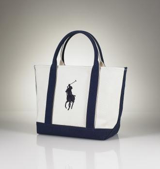 Ralph Lauren Canvas Leather Large Handbag Blue