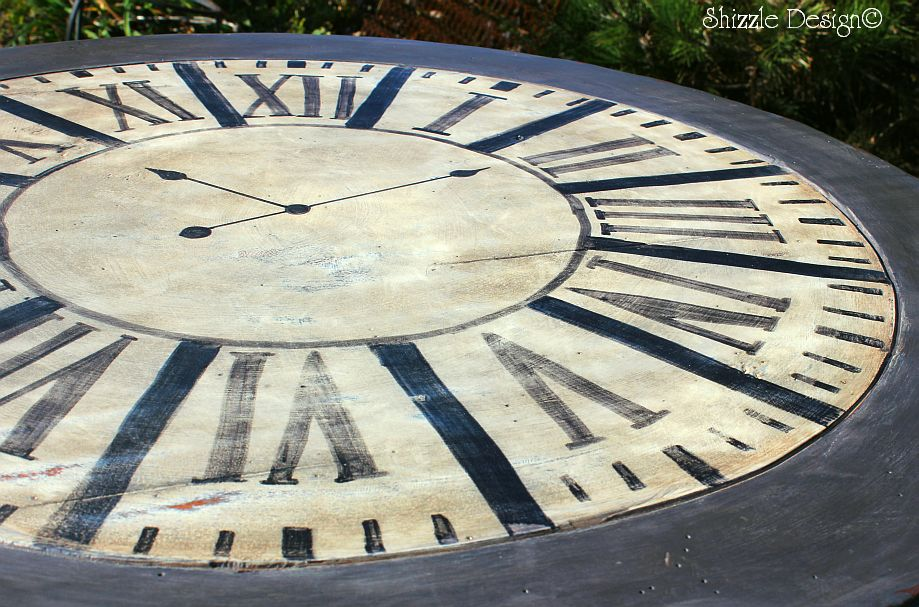 Shizzle design hand painted clock table transformation for Vermont slate colors