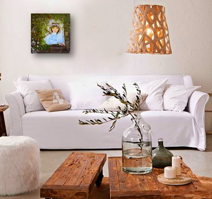 Wooden wall clock with oil painting in handmade - Girl in the Window, summer Landscape with birch  in handmade. in the style impressionism.
