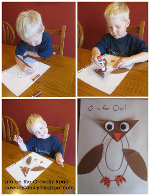 making an owl from the shape of letter o