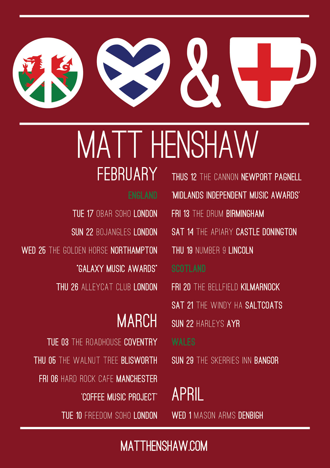 Matt Henshaw Live Peace Love Tea Tour