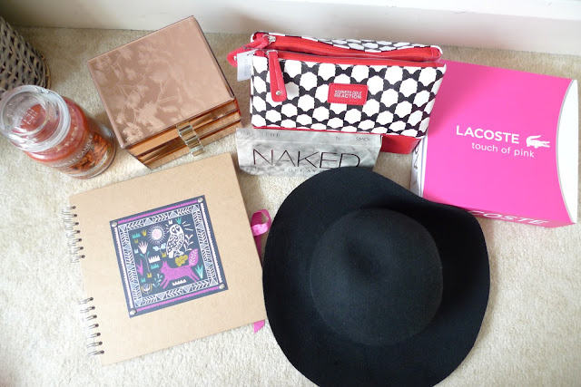 20th birthday presents / gifts 2015 - urban decay naked smoky palette, kenneth cole reaction make-up bag, lacoste touch of pink perfume set
