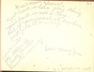 Mary Jane Via in autograph book belonging to Mary Davis Slade 1940-41