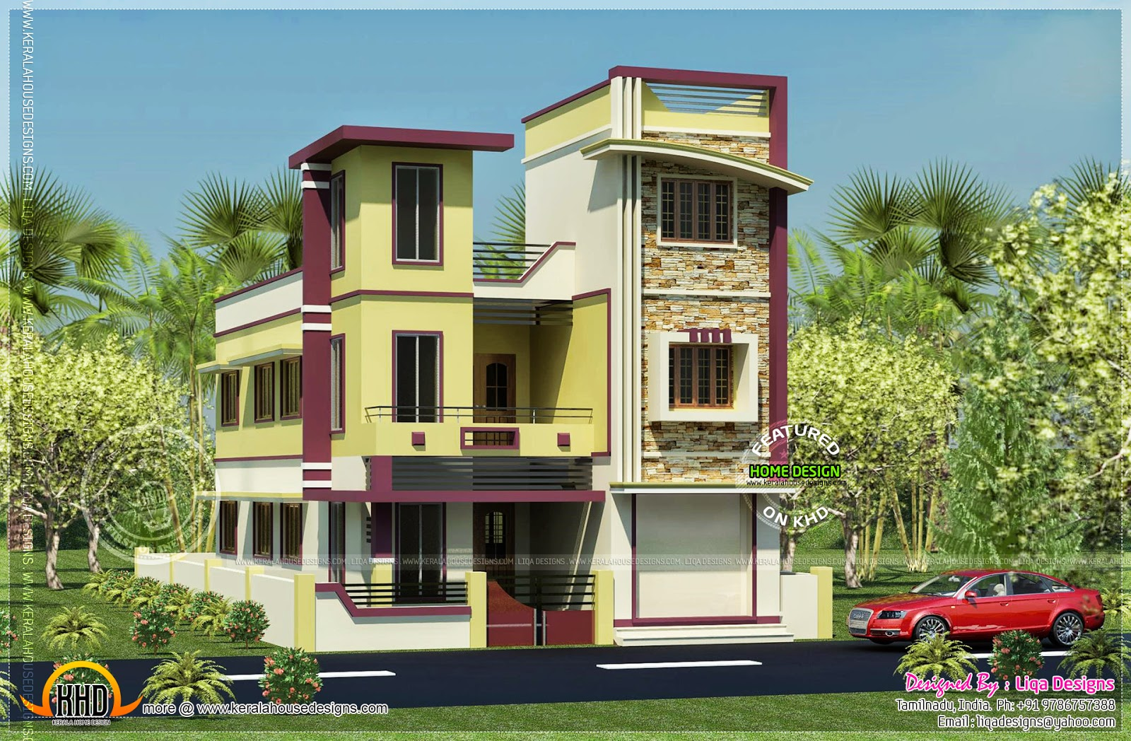 2470 sq ft 3 storied tamilnadu house rendering kerala for Home designs in tamilnadu