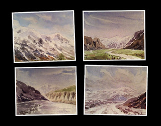 water colour study works of snow capped mountains by Manju Panchal