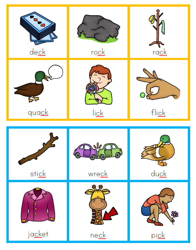 Printable Sound Bingo - /ck/ words | you clever monkey