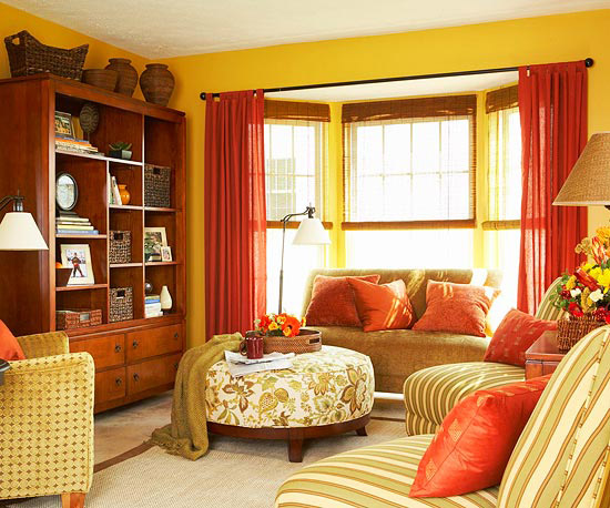 Decorating with orange 2013 ideas decorating idea for Orange and yellow living room ideas