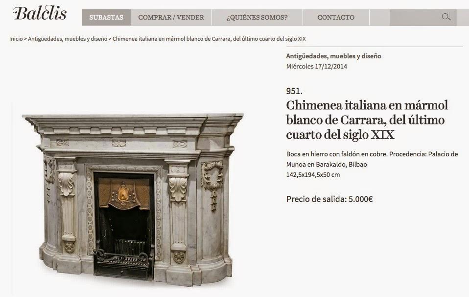 Una sala de subastas anuncia la venta de las dos chimeneas del palacio de Munoa