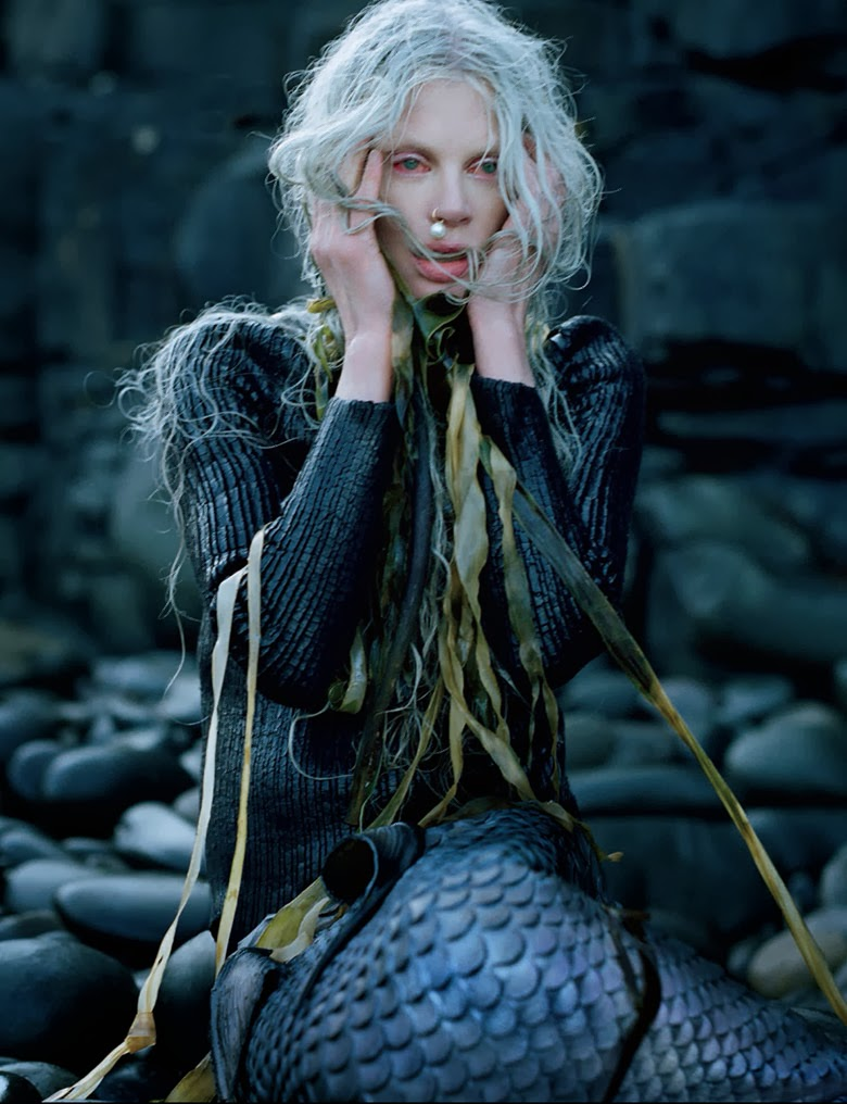 "Kristen McMenamy in W Magaine editorial ""Far From Land"", Tim Walker, Jacob K, Stephane Marais, mermaid, forlorn languishing dark, pearl dangly nosering, long blonde hair, seaweed, fashion editorial, balenciaga sweater, bloodshot eyes"