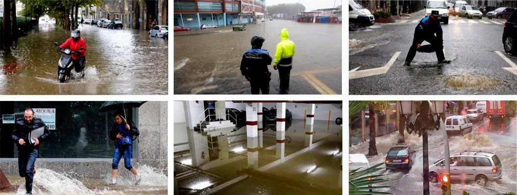 Inundaciones y problemas de tráfico por el diluvio caído en Vigo