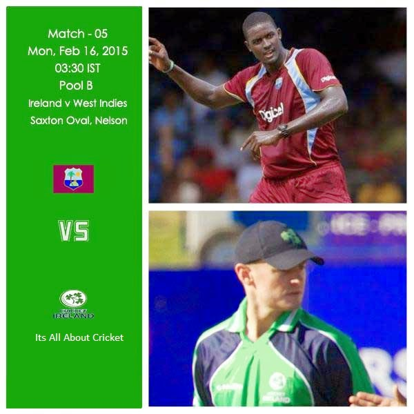 West Indies vs Ireland Live Streaming 2015